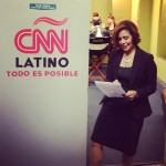 Michele Ruiz preparing to be interviewed on CNN Latino